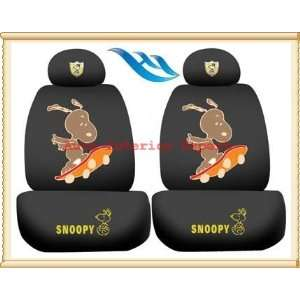 ON SKATEBOARD UNIVERSAL CAR SEAT COVER SET BLACK S06 Automotive