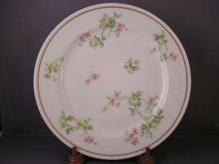 HAVILAND LIMOGES LIGHT GREEN ROSES/PINK FLORAL PLATE