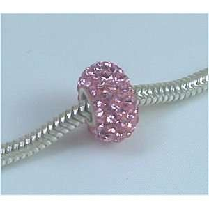 LIGHT ROSE Pink Crystals Pave European Charm Bead