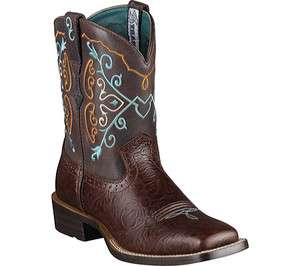 Womens 10004812 Rodeobaby Brown Turquoise Cowboy Western Boots 6 M