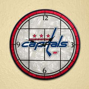 Washington Capitals   12 Inch Art Glass Clock Sports