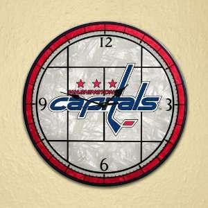 Washington Capitals   12 Inch Art Glass Clock Sports