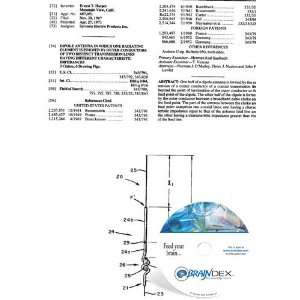 NEW Patent CD for DIPOLE ANTENNA IN WHICH ONE RADIATING