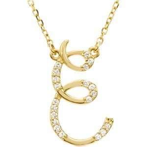 14K Yellow Gold Alphabet Initial Letter E Diamond Pendant Necklace 17