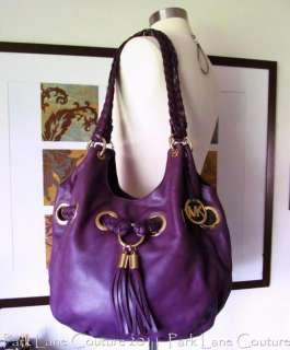 Michael Kors Purple Leather Braided Grommet with matching Astor Wallet