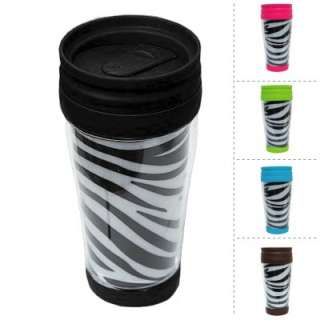 Brand New Zebra Print Sturdy Plastic Thermal Travel Coffee Cup