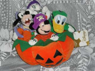 plush HALLOWEEN PUMPKIN MICKEY MOUSE MINI BEAN BAG SET