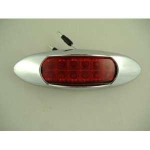 Red 12 LED RV Truck Trailer Side Marker Clearance Light / Chrome Visor