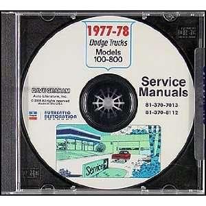 1978 Dodge Pickup Truck & 4x4 Repair Shop Manual CD ROM: Dodge: Books