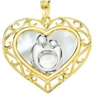 Gold Heart Shaped Mother & Child Pendant with Rhodium Plating Jewelry