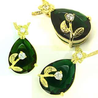 PEAR CUT GREEN EMERALD YELLOW GOLD GP PENDANT NECKLACE