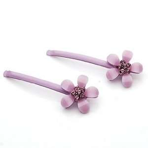 Light Purple Flowers Pattern Resin Rhinestone Hair Bobby Pins /Sticks