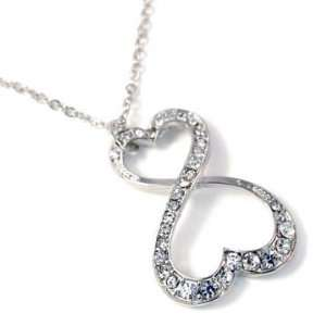 Fancy Silver Tone Clear Crystal Double Infinity Hearts Charm Pendant