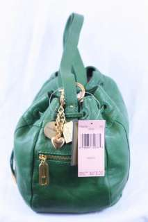 Juicy Couture Double Dare Small Drawstring Hobo Bag Green Gold Charms