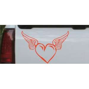 6in X 8.8in Red    Heart With Wings Girlie Car Window Wall
