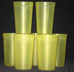 10 20oz TRANSLUCENT YELLOW PLASTIC DRINKING GLASSES CUP