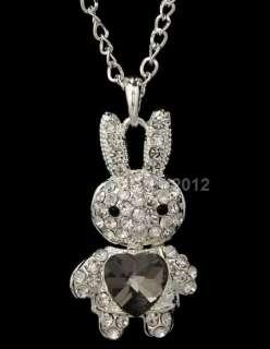 Dazzling swarovski crystals rabbit heart pendant alloy long necklace