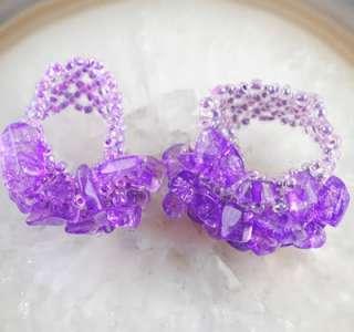 Purple Crystal Gemstone beads Stretch Ring 7 11 A3332