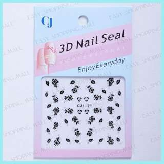 pcs Acrylic Nail Art 3D Design UV Nail Stickers Black