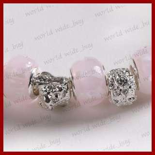 Pink European Beads Murano Glass Charm Lady BRACELET XMAS Gift