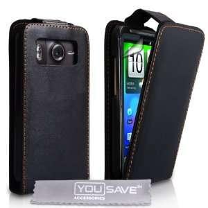 Brand new htc desire hd black premier leather flip case