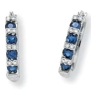 Blue Sapphire & Diamond Accents 10k White Gold Earrings Jewelry