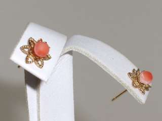 PRETTY PETITE NATURAL PINK CORAL 14K SOLID GOLD FINE STUD EARRINGS