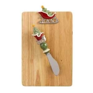 Wood Cutting Board with Holiday Christmas Tree Santa Sled
