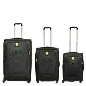 Ed Hardy Geneva Embossed Tiger 3 Piece Luggage Set Blk