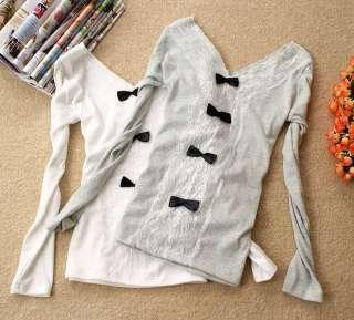 Korea Women Bowknots V neck Lace Rivet Tops T shirt o0
