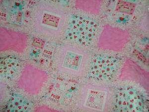 Pretty pink Posh puppies baby girl rag quilt