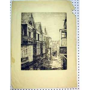 C1810 Antique Print Street Scene Houses Canal Boat Men