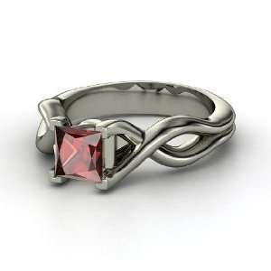 Twist Ring, Princess Red Garnet Sterling Silver Ring Jewelry