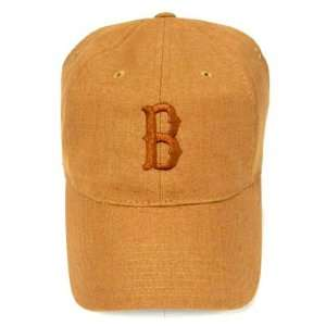 MLB BOSTON RED SOX LOGO CAMEL POLYESTER HAT CAP ADJ NEW