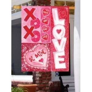Valentines Day Love Hugs Kisses Large Flag Patio, Lawn