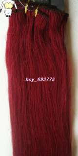 22Remy Human Hair Clips In Extensions Fantasy Red,70g