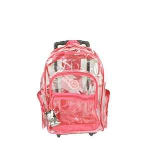 Red Clear Rolling Backpack on Wheels 18  Sports