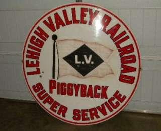 VALLEY RAILROAD Porcelain Piggyback Super Service SIGN Original PA