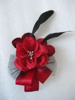 Holiday Red Rose Flower Black Feather Fascinator Hair Bow Clip