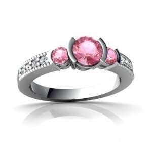 White Gold Round Created Pink Sapphire Engagement Ring Size 5 Jewelry
