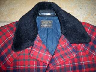 VTG Pendleton Wool Plaid Red Coat Mens Medium