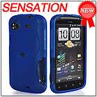 Blue TPU Silicone Gel Case+Privacy Screen Protector for HTC Sensation