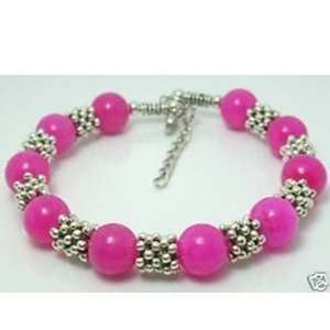 Fashion Jewelry ~ Pink Jade Beads Silvertone Bracelet