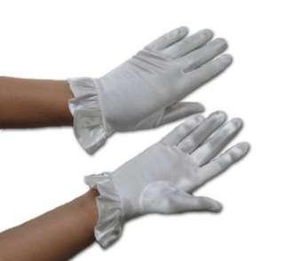 Lillian Gloves Short White Satin with Ruffle Clothing