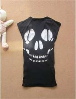 Vintage Fashion Women Hollow Skull T shirt Top WT005
