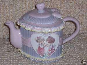 PRECIOUS MOMENTS HEART SHAPED TEA POT, 2 GIRLS 1995