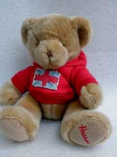 HARRODS Plush TEDDY BEAR Red Union Jack Hoodie Embr Paw