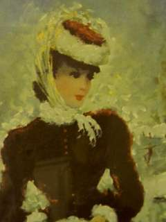 The Best Old Framed French Lady Ice Skating Print~50s