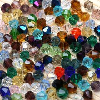 1000PCS Glass Crystal Lots MIXED Bicone Loose Beads 4MM