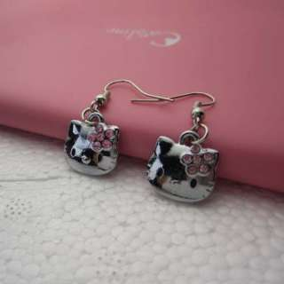2012 Cute HelloKitty Girls Friend Swarovski Mini Earring Kids Child